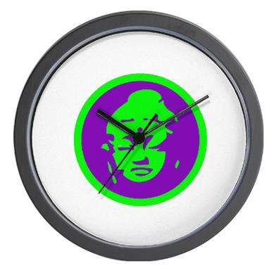 green_purple_buddah_wall_clock